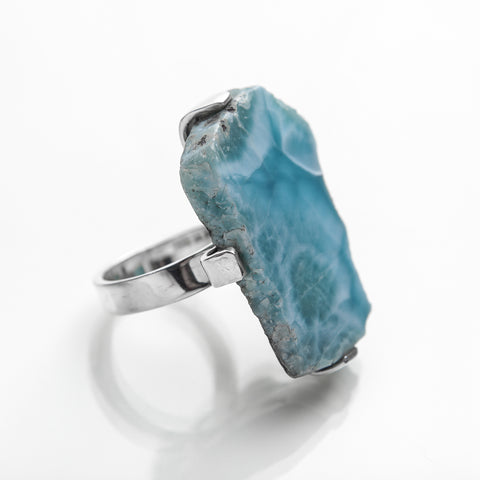 Raw Larimar Ring, Iris