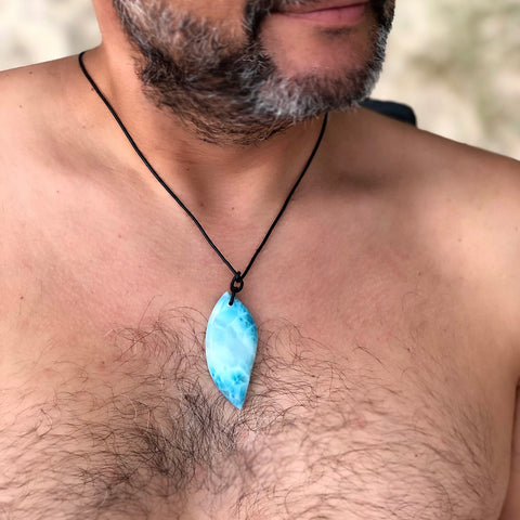 Black Leather Larimar Necklace, Chase