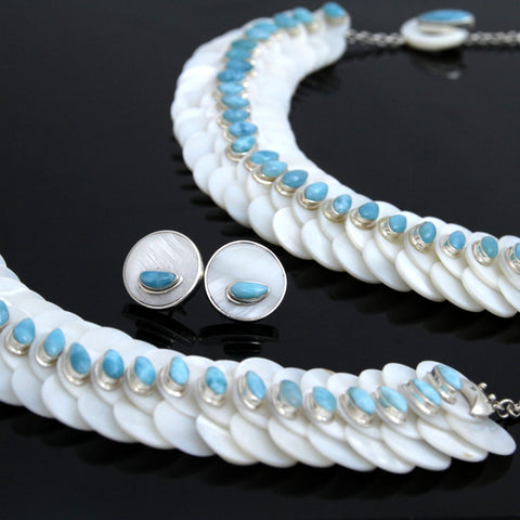 Larimar Set Necklace, Earrings and Bracelet