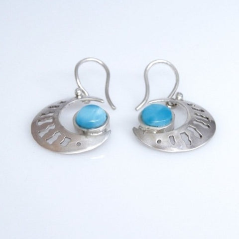 Larimar Earrings, Half Moon Dangle