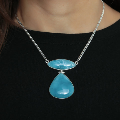 Superb Blue Larimar Necklace, Tam
