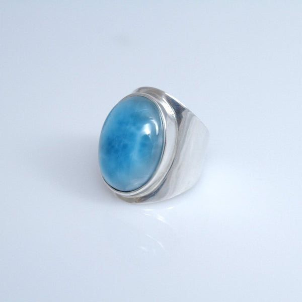 Larimar Ring for Men, Traditional Style