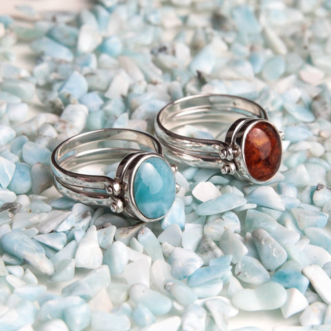 larimar and amber reversible ring