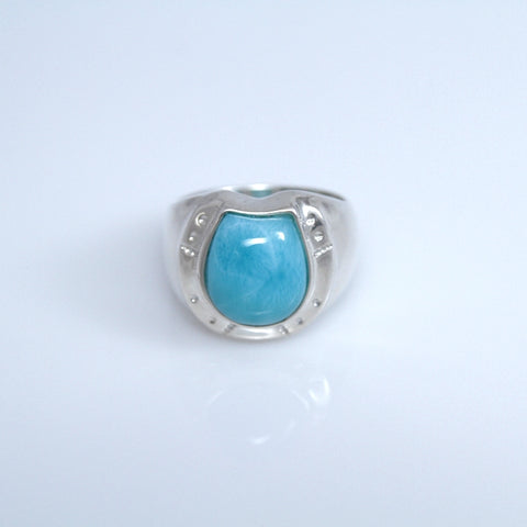Horseshoe Larimar Ring, Men Jewelry