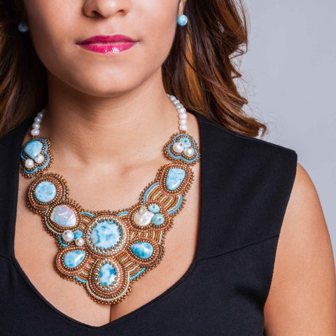 larimar bib necklace