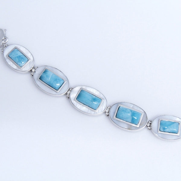 Larimar and Mother Pearl Bracelet