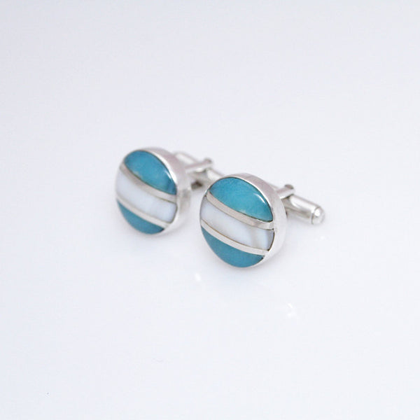 larimar and silver cufflinks