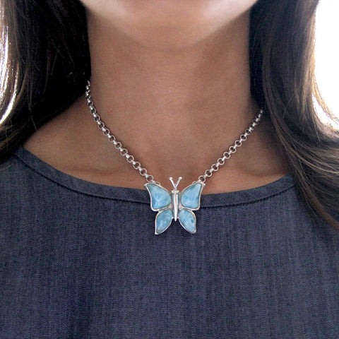 Larimar pendant, butterfly style