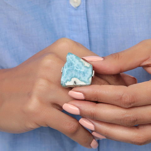Raw Larimar Ring Primitive