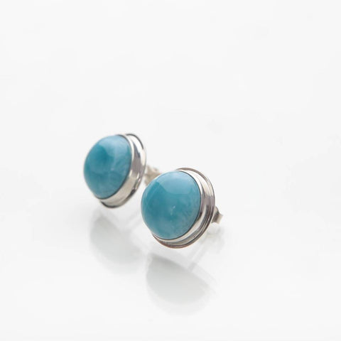 earrings sterling oval larimar silver petite