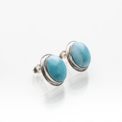 Oval Larimar Earrings, Diane
