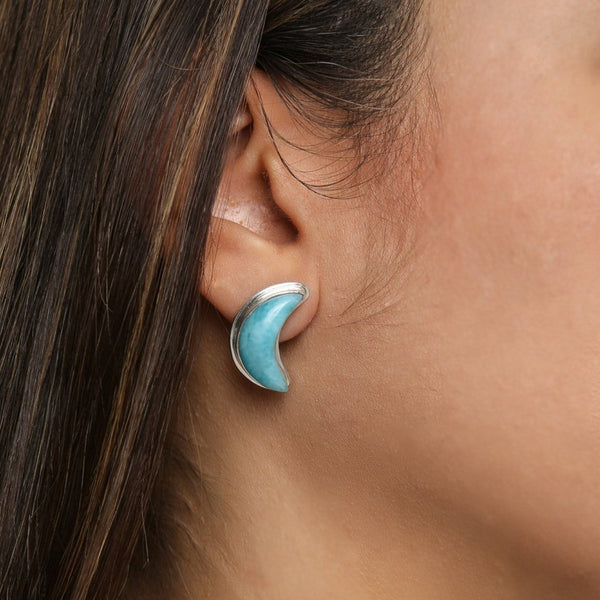 Larimar Moon Studs Earrings, Constellation