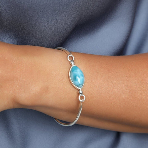 Blue Larimar Bangle, Icy