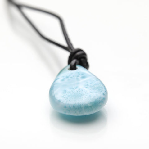 Larimar and Leather Cord Necklace, Kai
