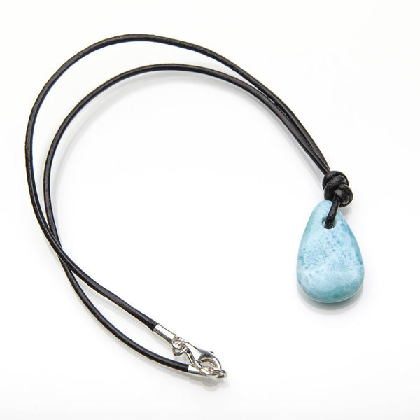 Larimar and Leather Cord Necklace, Silas