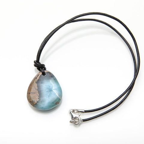 Larimar Specimen and Leather Cord Necklace, Storm