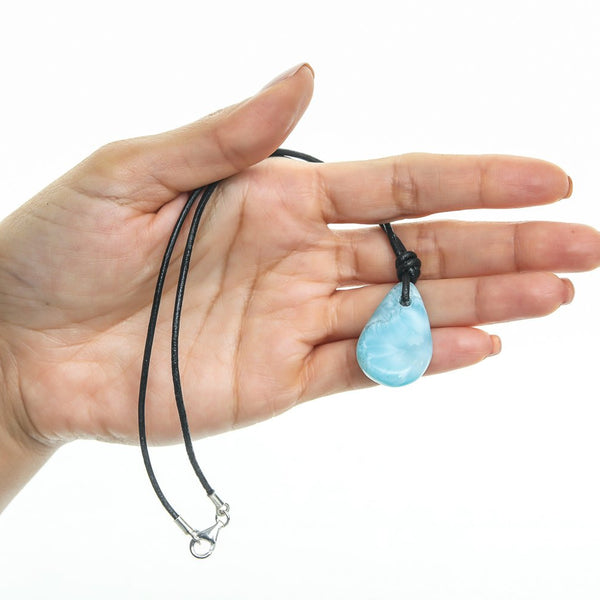 Larimar Stone and Leather Cord Necklace, Beau
