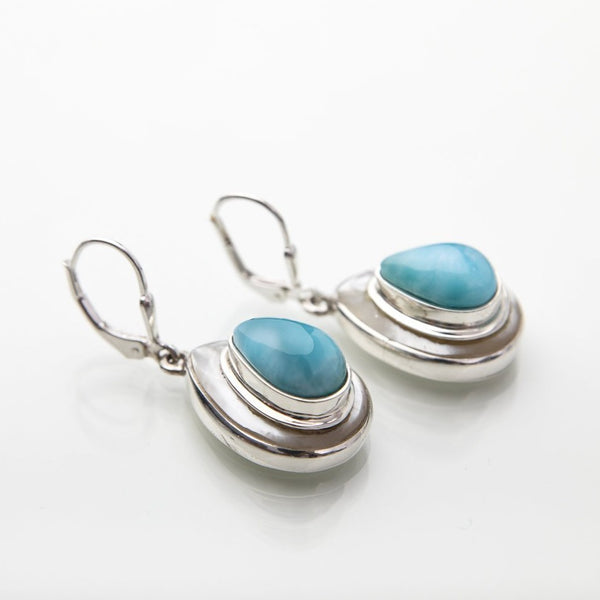 Larimar earrings, Montana