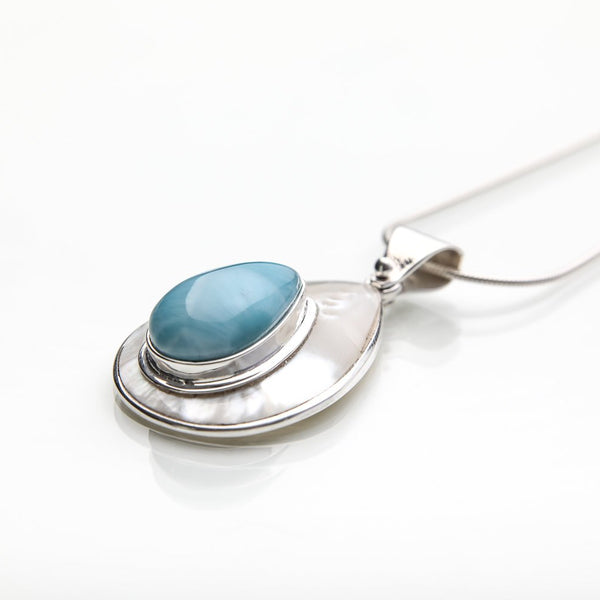 Larimar and Mother of Pearl Pendant, Isabelle
