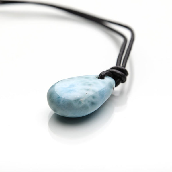 Larimar Stone and Leather Cord Necklace, Greer