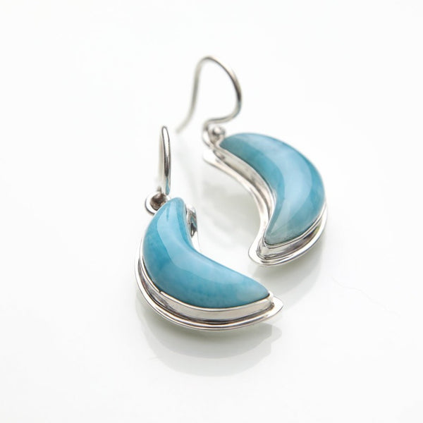 Larimar Moon Dangle Earrings, Constellation