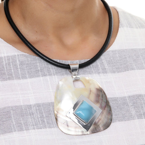 Larimar and Mother of Pearl Necklace, Peyton