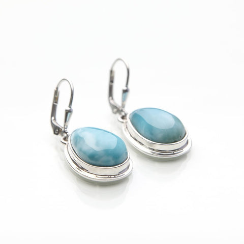 Teardrop Larimar Earrings, Alia