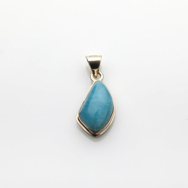 Larimar Pendant set in Gold Monaco