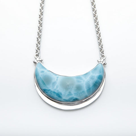 Larimar Moon Necklace, Tara