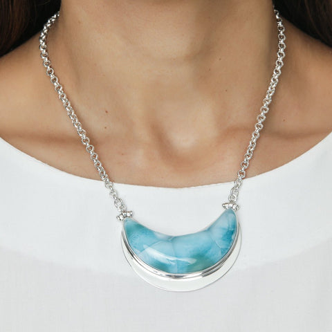 Larimar Moon Necklace, Arlette