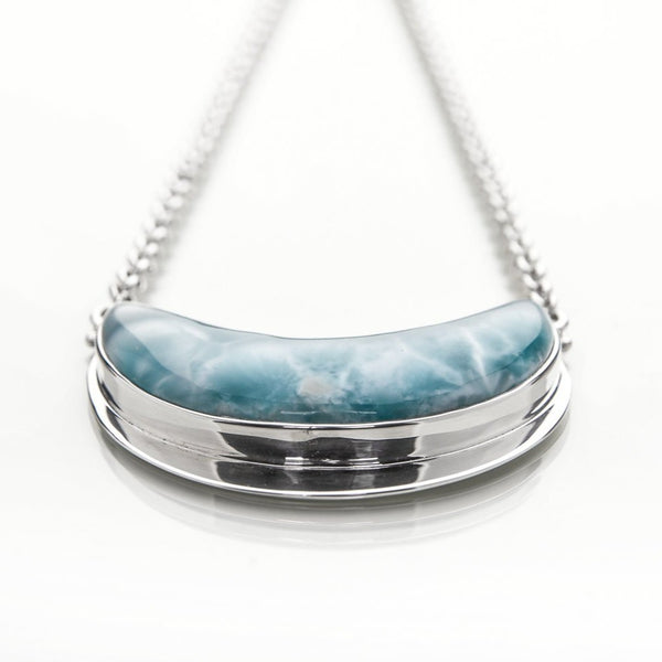 Larimar Moon Necklace, Veronica
