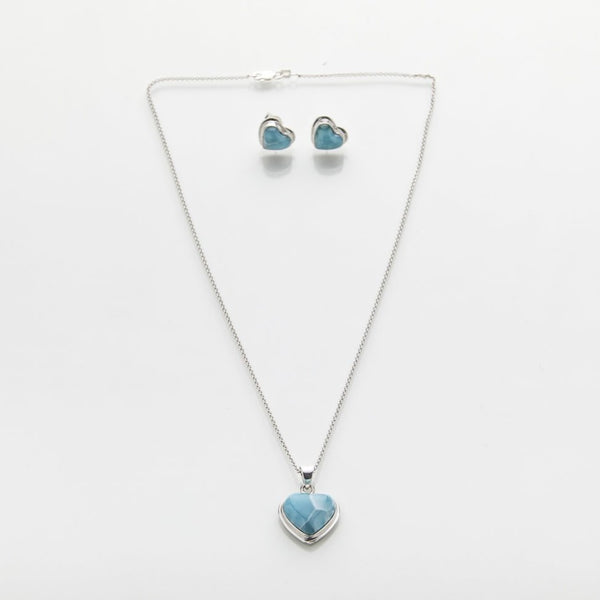 Larimar Earrings Pendant Set, Annelia