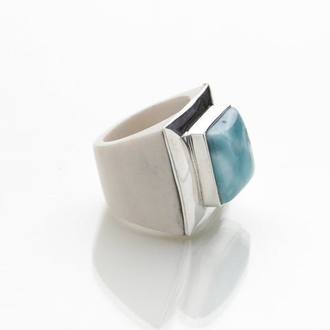 Larimar Cow Bone Ring, Shay