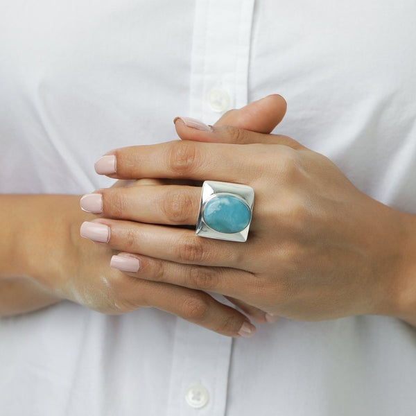 Larimar Cow Bone Ring, Kalinda