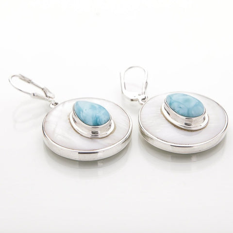 Larimar Mother of Pearl Earrings, Caylee