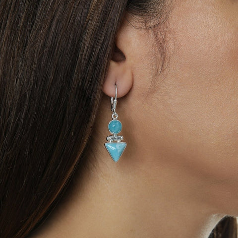 Larimar Dangle Earrings, Yvette