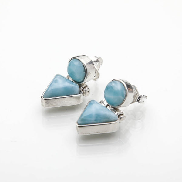 Larimar Double Stone Earrings, Yvette