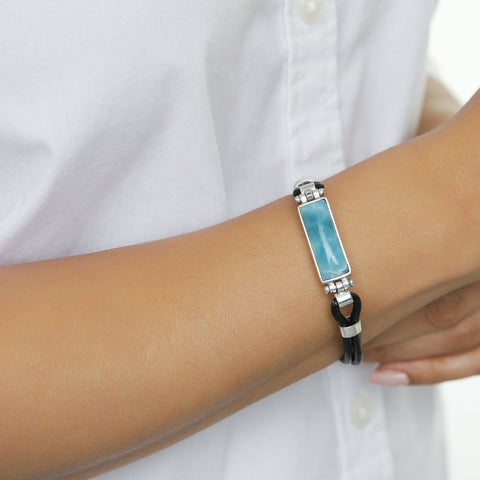 Larimar Leather Bracelet, Daphne