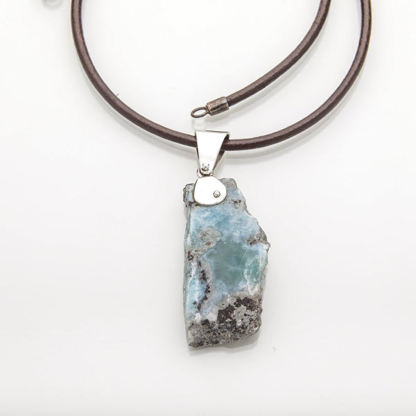 Raw Larimar Pendant, Mark