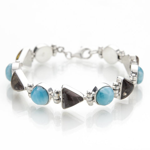 Amber and Larimar Gemstone Bracelet, Maureen