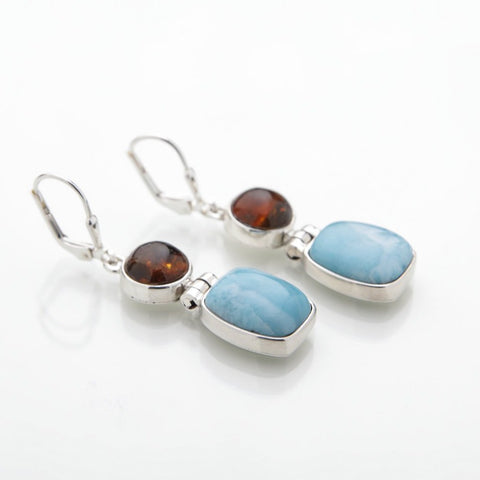 Larimar Stone and Amber Earrings, Mare