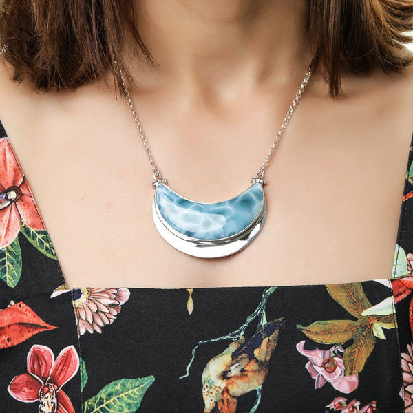 Larimar Moon Necklace, Hadded