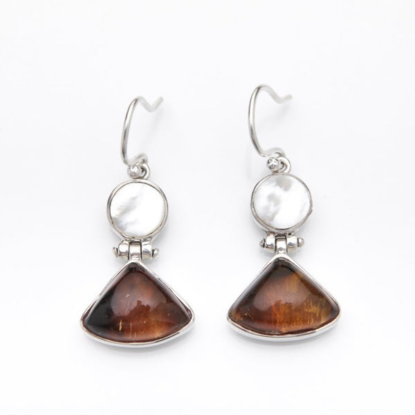 Amber Mother Pearl Earrings, Vizza