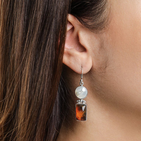 Amber Mother Pearl Earrings, Mercy
