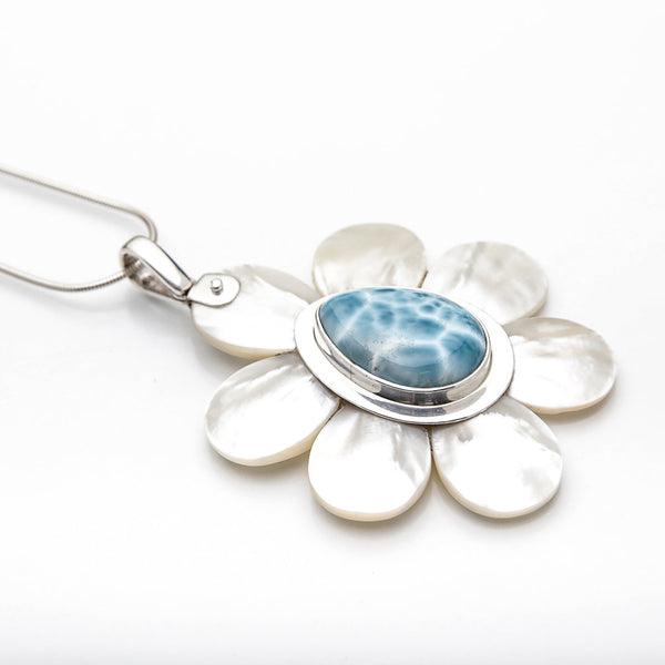 Larimar Mother Pearl Pendant, Sukru