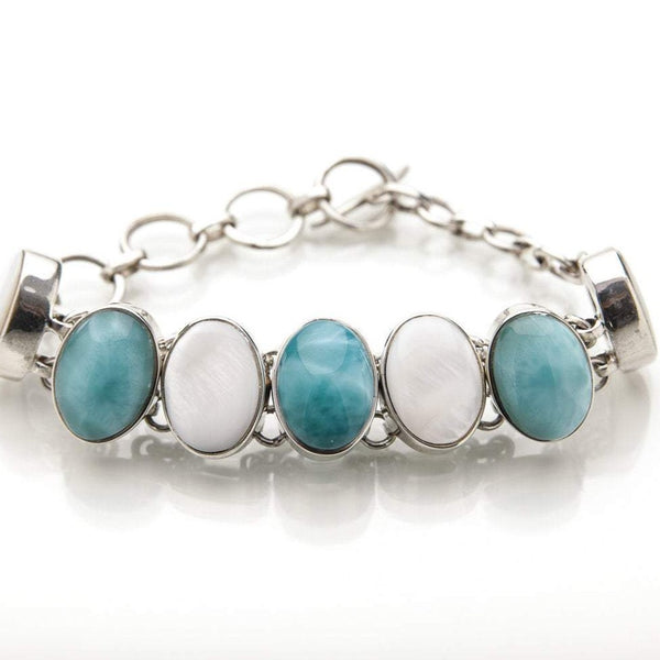 Larimar and Mother of Pearl Bracelet, Vera