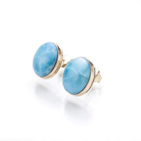 Larimar 14K Gold Earrings, Haily