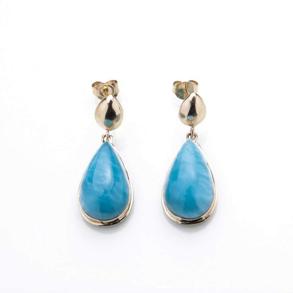 14K Gold Larimar Earrings, Lula