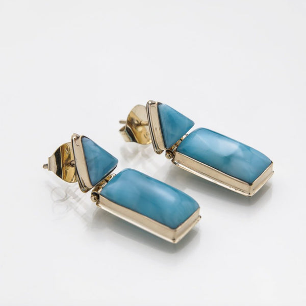 Larimar 14K Gold Earrings, Tillie