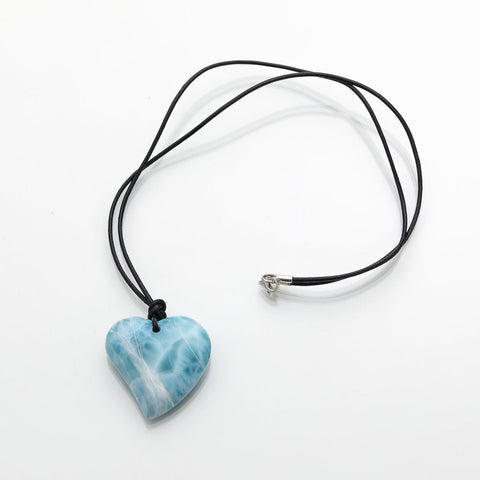 Larimar Heart and Leather Cord Necklace, Louve